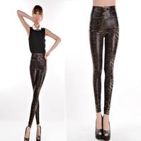 2014 New Fashion High waist Fine Snake Print Seamless women leggings Lederhosen Leather Pants tenths pants Free Shipping
