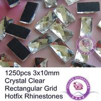 Rectangular Grid 1250pcs 3x10mm Crystal Clear Hotfix Rhinestones Glass Material For Garment