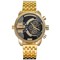 2014 NEW Luxury Golden Strap Black Dial Dual Movement Luminous Hands Sport Men Watch