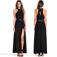 Women Chiffon Tank Top Dress Sleeveless Round Collar Strapless Slim Waist Side Slit Asymmetrical Hem Sexy Long Dress D556