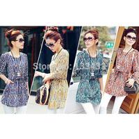 Free ShippingWomens Long Sleeve Simple Basic Sheer Blouse Floral Chiffon Shirt