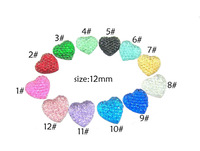 Free shipping,Wholesale 300pcs/LOT,12COLORS 12mm Shining Heart Resin Cabochon Flatback Diy Hair Bow Center ,QNE01