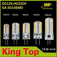1Pcs SMD 3014 G4 3W 4W 5W 6W LED Crystal lamp light DC 12V / AC 220V Silicone Body LED Bulb Chandelier 24LED 32LED 48LED 64LEDs