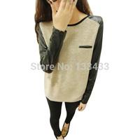 Free ShippingWomens Shrug Sleeve PU Leather Stitching Long Sleeve shirt Casual  Blouse