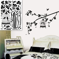 Parisian Spring Bird in Tree Silhouette Easy Apply Wall Sticker Decorations  Wall Sticker Black and White Bird in cage Tree