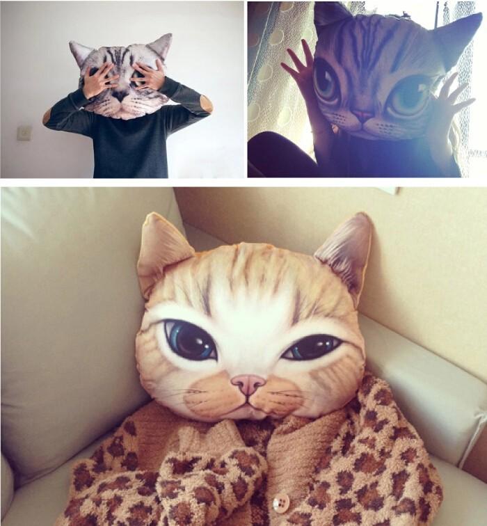 New Cartoon Chair Pillow Personality Car Cushion Cover Creative Handsome Cat shape Nap pillow Cover Cute seat cushion(China (Mainland))