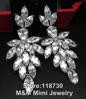 Luxury Shining Clear AAA Cubic Zirconia Big Water Drop Earrings Elegant Bridal Wedding Party Jewelry