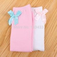 Free ShippingToddlers Kid Girl Cotton Knee High Socks Bow-knot Princess Socks  3-6Y