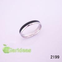 Women Stainless Steel Silver Black Ring Item ID:2199 1 pcs