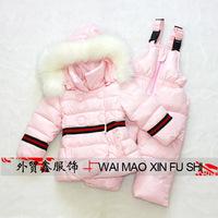 New white / pink / red thicken winter toddler baby / kids warm duck down jacket coat suspender pants