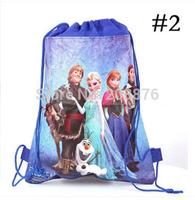 2014 Frozen backpack drawstring bag Children kid drawstring backpack school bags Non-woven34*27CM