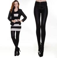 2014 New Fashion High waist was thin tight leather pants zipper women leggings Lederhosen Tenths Pants Free Shipping