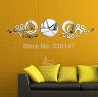 Home Decor 3D DIY Rounds Circle Surface Mirrors Wall Clocks, Modern Design Wall Watch DIY Stickers