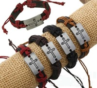 Wholesale Handmade Genuine Leather Mens Fashion Cross Bracelet. Promotion Sale 5PCS/LOT Fashion Pulseras Hombre