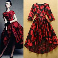 2014 fashion ruslana korshunova print half sleeve  dovetail dress Evening dress one-piece dress Full Dress