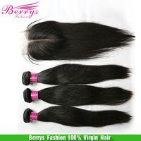 "6A Peruvian straight  4pcs bundle with 1pcs middle part closure unprocessed virgin hair 4pcs/lot,10""-34"",Berrys hair products"