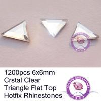 New Decoration 6x6mm Triandle Flat Top Crystal Clear 1200pcs Hotfix Rhinestones
