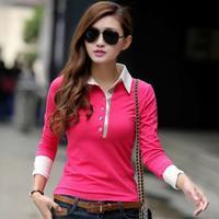 2014 Spring New Polo Shirt Bodycon Long Sleeve Diamonds Rose Red Cotton Tops OL Casual Bottoming Tee Blusas Femininas 0800
