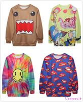 Autumn Pullovers Sweatshirt Long sleeves Fashion Women's Cartoon Print Sweatshirts 4 Styles MD1996/97/98/2000