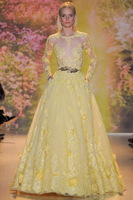 Wholesale Top Selling A-Line long Sexy scoop neck long sleeve yellow applique Real Made zuhair murad Evening Dresses On Sale