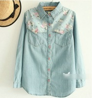 Fall Fashion ladies tops 2014 Ladies' elegant sweet floral spliced blue Denim shirt blouse long sleeve casual slim shirts W00437