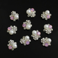 30pcs/lot Unique Design 3D Jewelry Nail Art Decoration Glitter Crystal Rhinestones Faux Pearl Alloy Phone Cover Craft Tips 11MM