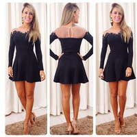 New Women Sexy Lace Long Sleeve Evening Party Short Mini Dress Vestido Summer 2014 Casual Mesh Patchwork Princess Dresses #1050