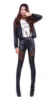 Fashion New 2014 Punk Sexy PU LeatherFashion High-waist Stretch Material Pencil Pants Black Footless Leggings