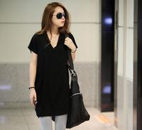 New Summer Korean style Women Shirt Loose Plus Size Fashion Slim Long Shirt Free Shipping c1325