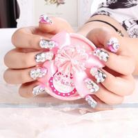 24 pcs /lot Wedding Diamond luxury Bride False Nails 3d nail art decorations nail rhinestones glitters acrylic tips
