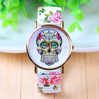 New arrival  GENEVA dress watch cute skull girl fashion watch spring steel strip watch  quartz watch
