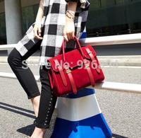 Retro matte PU buckle casual fashion lady handbag shoulder bag cross body messenger bag commuter bag free shipping Red & Gray