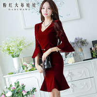 Dabuwawa Brand New Authentic Women's 2014 Autumn And Winter Fashion Temperament Cultivating Long-Sleeved Dress Fishtail