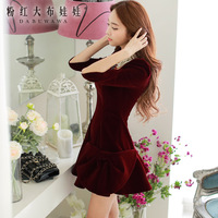 Dabuwawa Brand New Authentic Women's 2014 Autumn And Winter Fashion Bow Velvet Long-Sleeved Dress