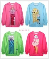 New 2014 Fashion Adventure Time Print Women Hoodies Cartoon Female SWEATSHIRT Pullovers Cotton Drop Shipping MD1996/97/98/2000