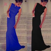 Women Summer Dress Sexy Vestidos Black/ Royal Blue Elegant Evening Dress Desigual Party Dress Long