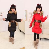 Very Thick Children Girls Long Duck Down Jackets Outwear For Russian Winter Kids Warm Outwear With Leopard Belt Jackets Coats