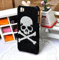 black Cell Phone Case skull mobile phone rhinestone Cover For Iphone 6 4.7 cases hard housing