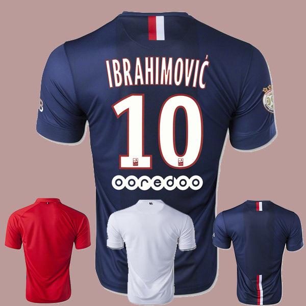 Paris 2014/2015 futbol Soccer jersey football kits Shirts Uniforms IBRAHIMOVIC CAVANI DAVID LUIZ T.SILVA VERRATTI PASTORE LUCAS(China (Mainland))