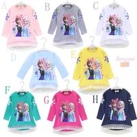 5pcs Children girl's 2014 Autumn Frozen Long sleeve t-shirt girl Top 9colors 11870