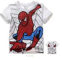 2014 boy's t shirt Spiderman 100% cotton short-sleeved t-shirt printing children's cartoon gray kids boys child's clothes