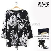 free shipping 2014 New European and American printing Fashion Kimono three-quarter sleeves round neck T-shirts