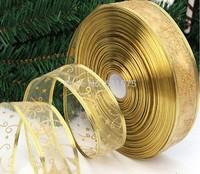 10m*5cm Christmas tree decoration ribbon divisa 5cm gift packaging box ribbon bow belt FREE SHIPPING