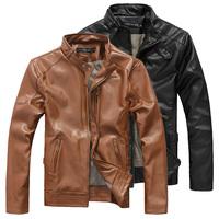 2014 Men's leather clothing jacket male jacket outerwear spring and autumn 2014 leather clothing outerwear male slim fashion