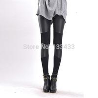 Free ShippingSexy Womens Ladies Disco High Waisted PU Splicing Shiny Leggings
