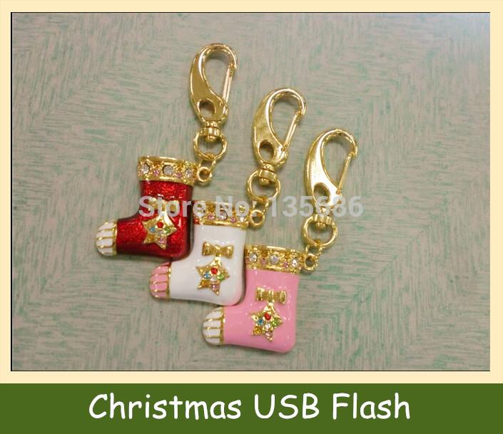Christmas Socks Metal Chrome USB Flash Drive Pen Drive Pendrive Memory Stick Card 128M 2GB 4GB 8GB 16GB 32GB 64GB Christmas Gift(China (Mainland))
