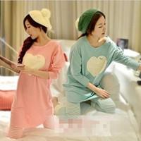 2014 Autumn Winter Women's Cotton Sleepwear Female Heart-shaped Lounge Wear Woman Pink Grey Purple Love Homewear Pajamas Sets