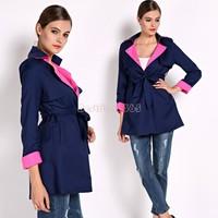 Fashion 2014 New Long Sleeve trench coat for women Ladies coat women's Slim windbreaker coat Contrast Color Stitching B26