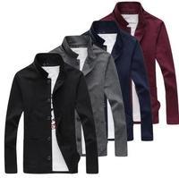 2014 autumn and winter The city boy pure color collar fleece cardigan Men's casual han edition fleece jacket
