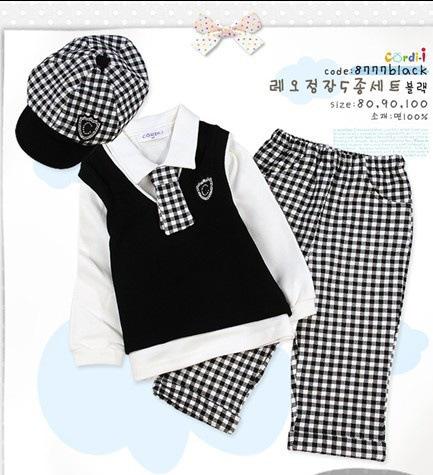 Baby boys sets Gentleman modelling infant long sleeve climb clothes kids body suit Grid tie Pants